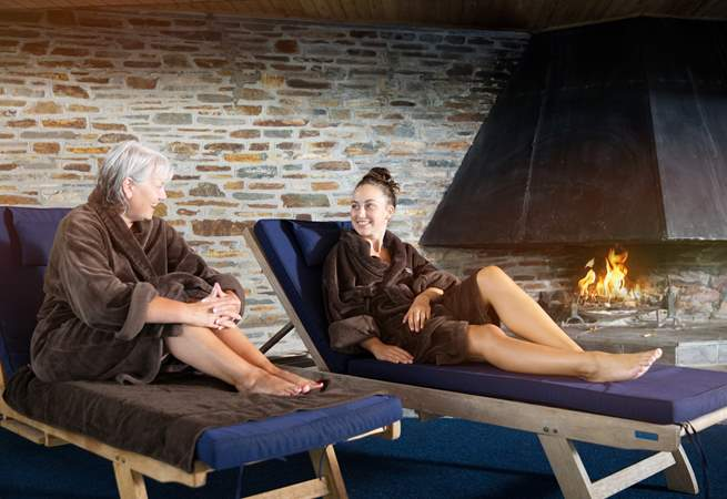 Spend some time in the spa or sitting by the swimming pool.