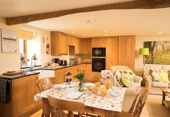 The kitchen-area is small but perfectly formed and has all the equipment you might need to cook a full meal.