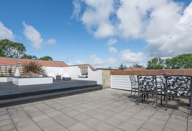 The decked roof terrace, which is not overlooked.