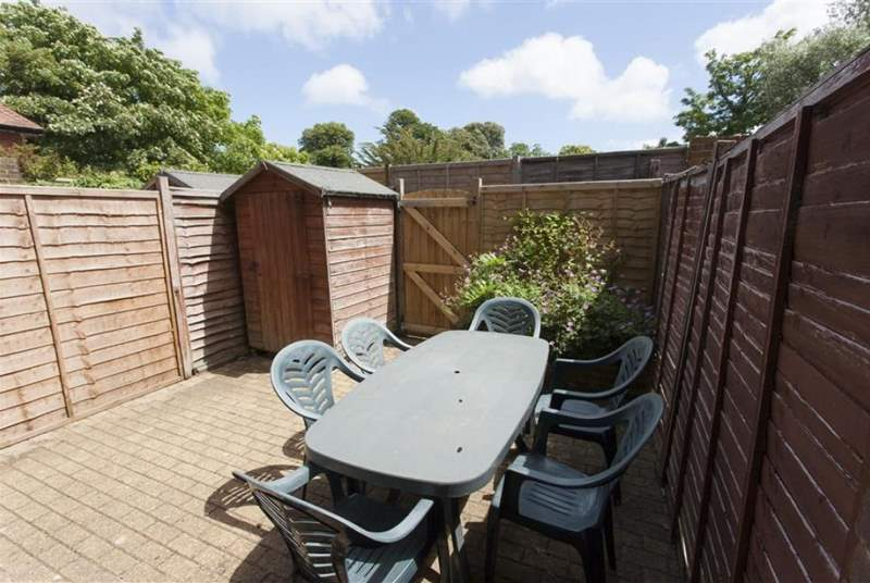 The enclosed courtyard is ideal for al fresco dining.