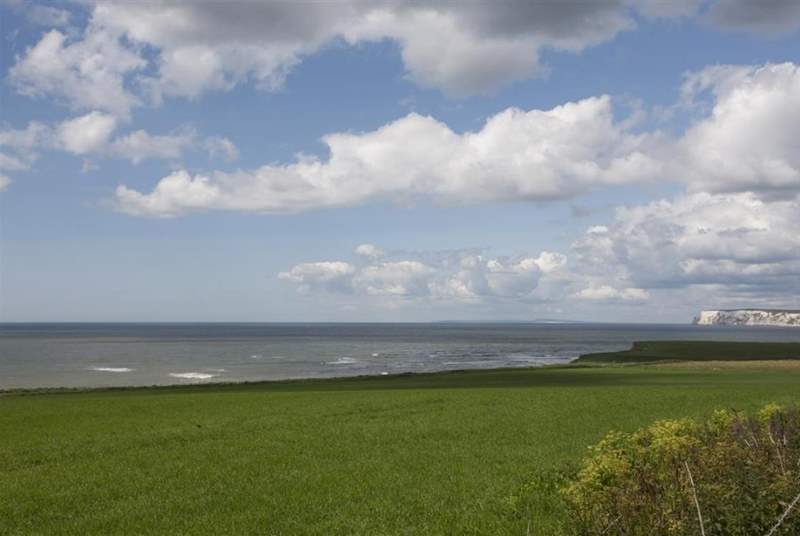 Amazing views across Compton Bay towards Freshwater, a very popular spot for surfers.