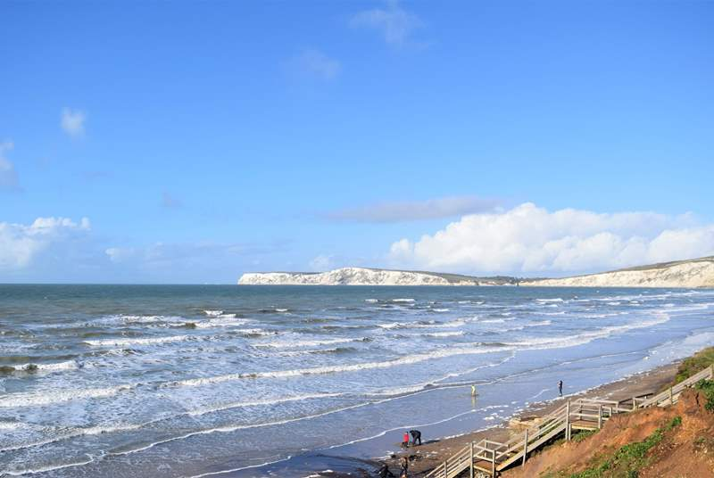 Compton Bay has something for all ages, you can hunt for fossils from the dinosaur era, or catch a wave on a surfboard.