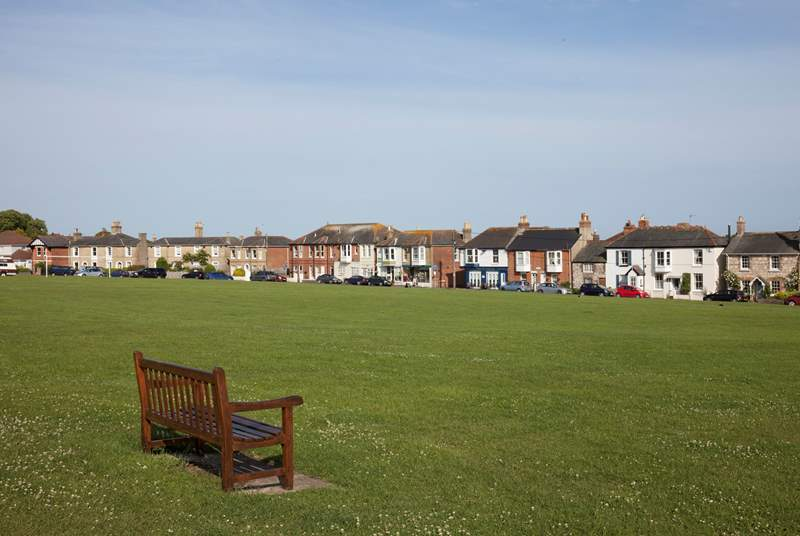 The charming St Helen's green with a children's playground, a few minutes walk from Fir Cottage.
