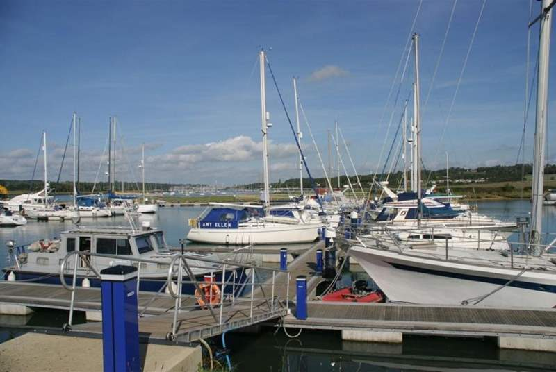 Island harbour moorings and The Breeze restaurant.