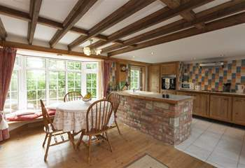 Traditional farm cottage kitchen and dining room.