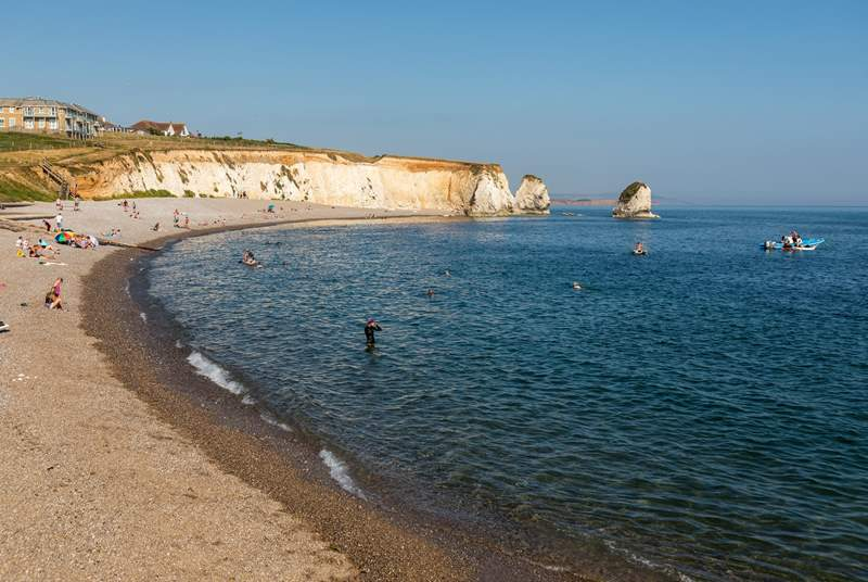 Freshwater Bay is one of the most picturesque beaches in West Wight, and lies just to the South of Freshwater town.