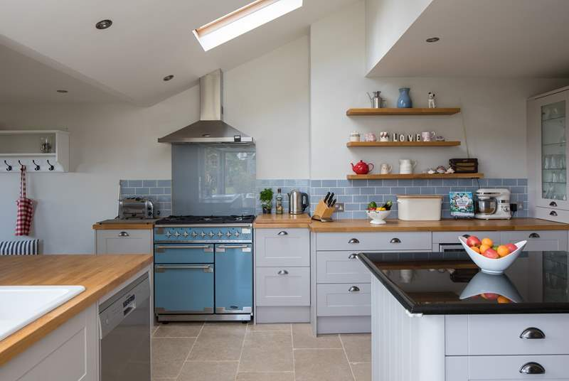 The fully equipped kitchen has a wonderful range cooker and all you need for holiday feasts.