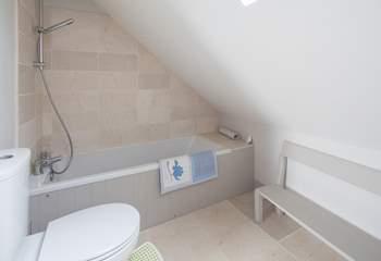 Th en suite bathroom for bedroom 3, great for soaking sandy children.