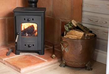 The wood-burner heats the cabin almost instantly.