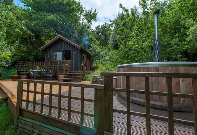 The wood-fired hot tub, glamping luxury after a hard day of relaxing.