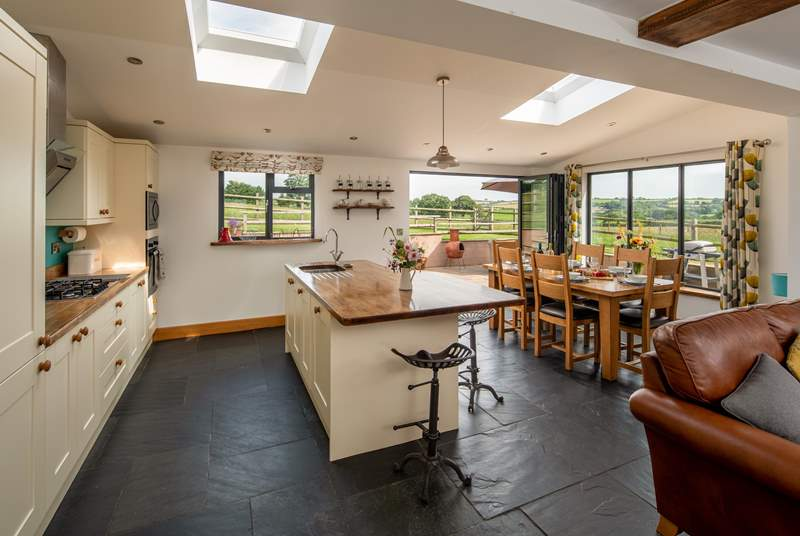 The kitchen living-area is open plan, perfect for a group holiday.