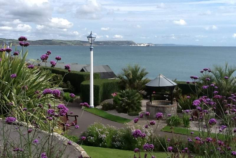 The Jurassic Coast as viewed from Greenhill Gardens at Weymouth.