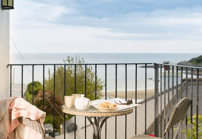 Wonderful views of Talland Bay from the balcony at Little Phoenix.