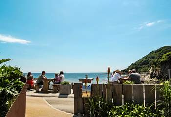 The beach cafe sells lovely freshly-prepared food, and what a view you have while eating!
