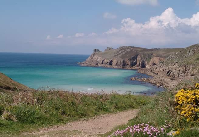 Nanjizel Cove, a stunning cliff walk just 8 miles away.