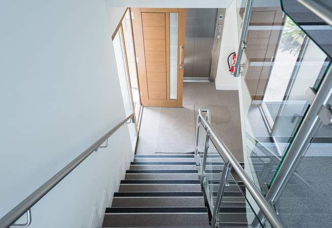 The apartment is on the first floor so there is a flight of stairs or a lift.