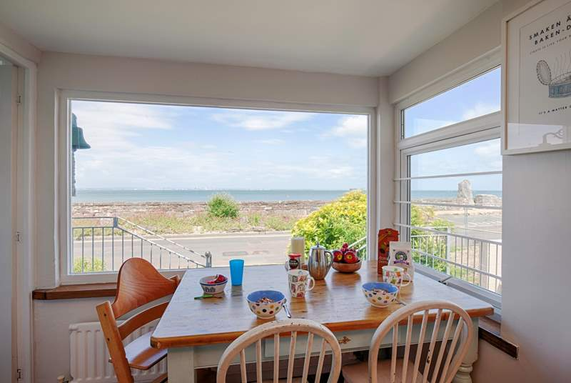 The breakfast table in the kitchen has a fantastic view to start off the day perfectly.