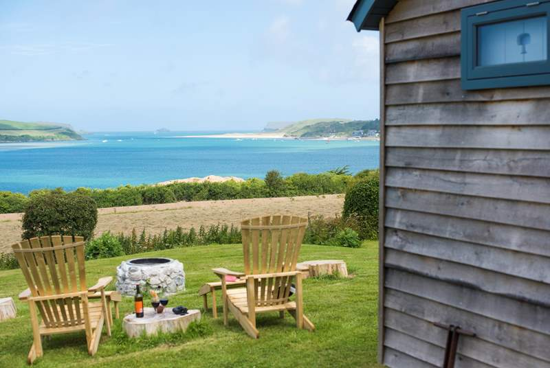 Tregwelan Shepherd's Hut has a wonderful view of the Camel Estuary.