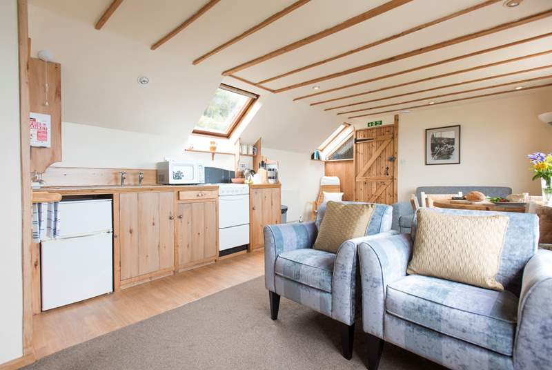 The living area is open plan.