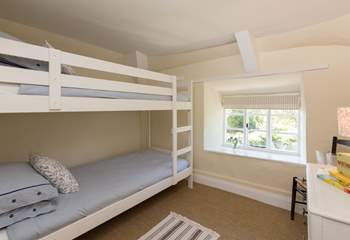 The third bedroom has 3ft bunk-beds. The top bunk is suitable for children only.