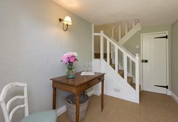 This is the entrance hall with the stairs leading up to the bedrooms and bathroom on the first floor.