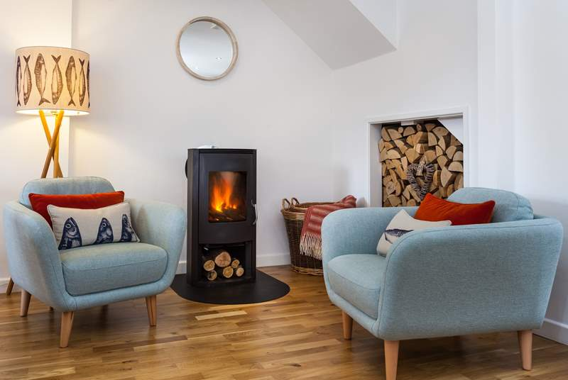 A toasty wood burner, for cosy evenings curled up with a book.