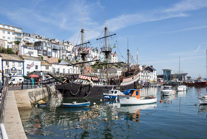 The infamous Golden Hind sits proudly as a centre piece in Brixham Harbour.