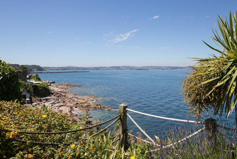 Spectacular views looking back over to Torbay from the terrace area of a local eatery.