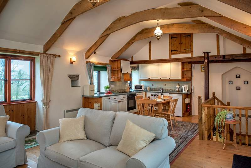 The open plan living-room is on the first floor giving a bird's-eye view of the surrounding countryside.