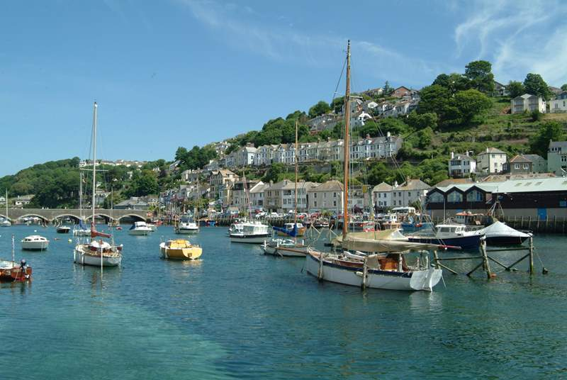 Boats moored at nearby Looe.