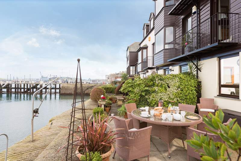 The waterside terrace is ideal for breakfast.