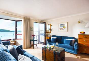 The sitting room is on the first floor with fabulous views.