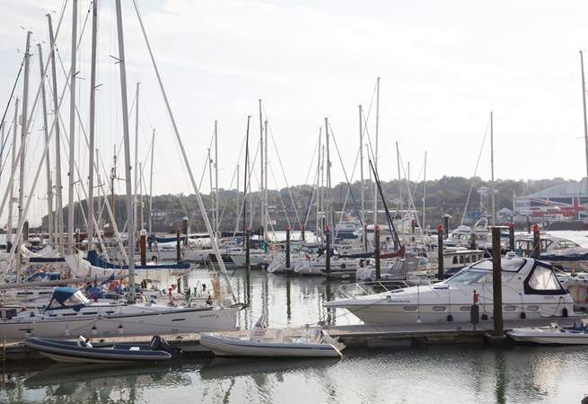 Just across the River Medina, you'll find a bustling marina.