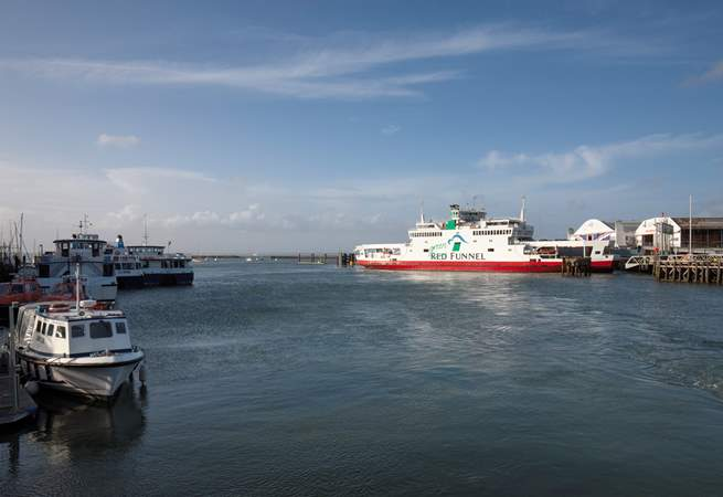 The waterway outside can get quite busy with passing ships and ferries.