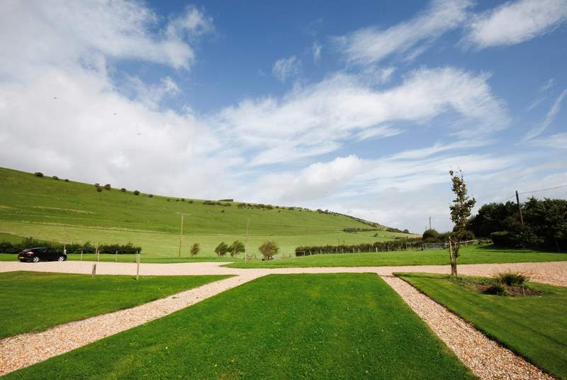 Beautiful and well manicured lawns with the countryside backdrop