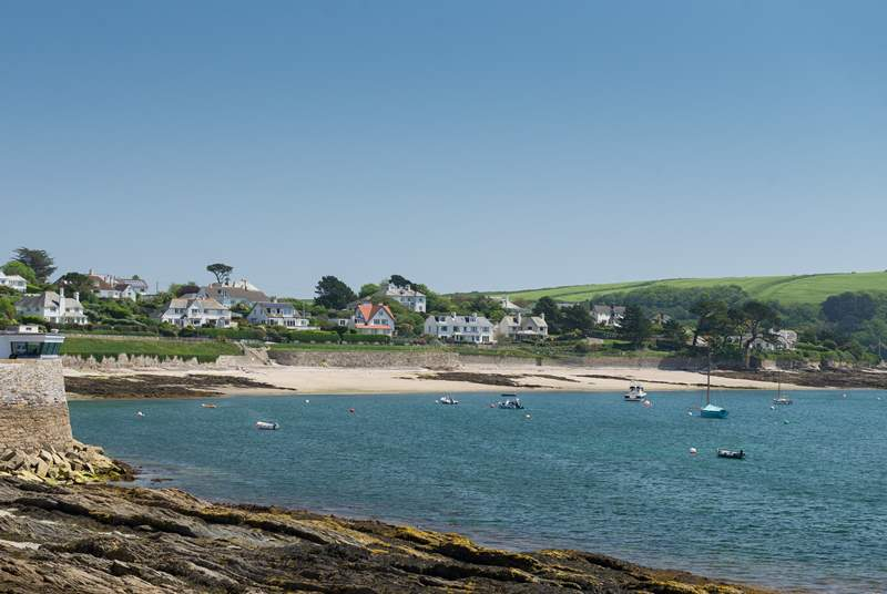 Looking towards Town beach in St Mawes from the seafront.