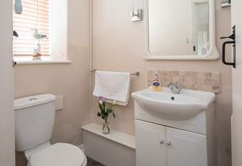 The ground floor shower-room has a large shower cubicle.