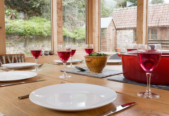 Eating in the garden-room is just as much fun, especially on a summer evening.