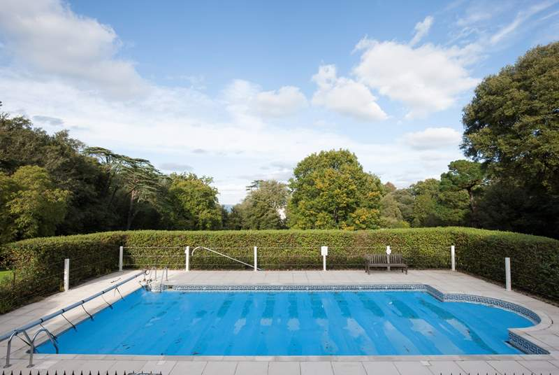 Take a dip in the heated outdoor swimming pool.