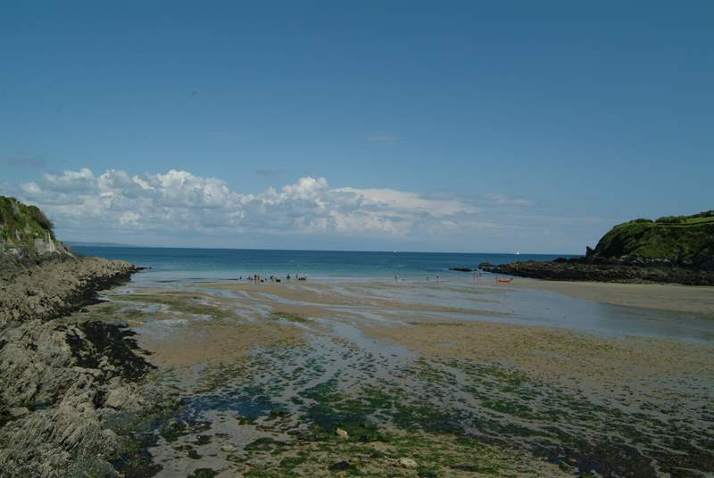 Nearby Portmellon beach as the tide drops back.