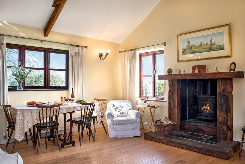 The toasty wood-burner makes this an ideal retreat whatever the weather.