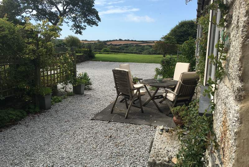Your private terrace to the front of the barn has lovely views across the gardens and surrounding countryside.