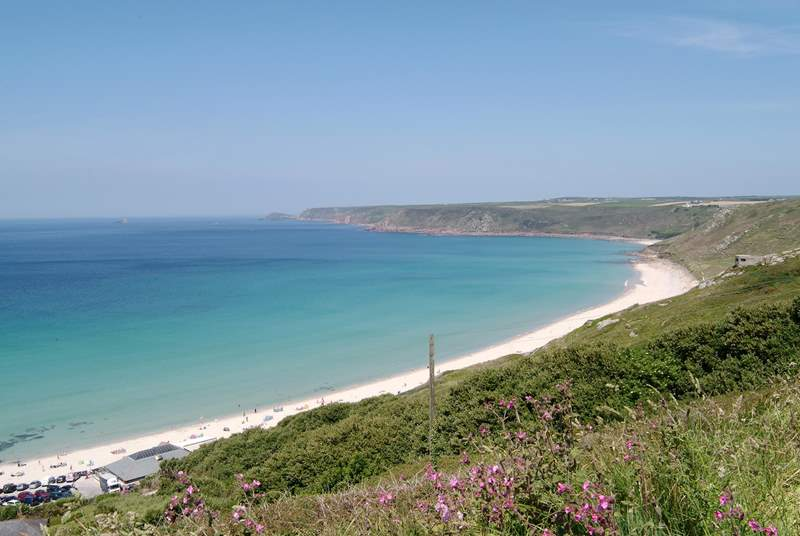 The gorgeous beach at Sennen, ideal for bucket and spade days or surfing.