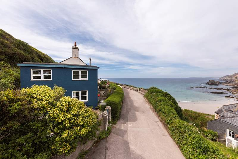The Hygge is set on a small private road directly above Trevaunance Cove in St Agnes.