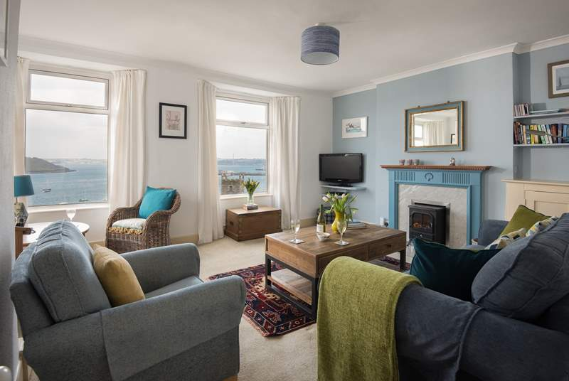 The first floor sitting-room embraces the wonderful views.
