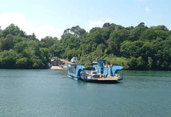 The King Harry Ferry crosses the river Fal at Trelissick Gardens (five miles from Falmouth) to the Roseland peninsula.