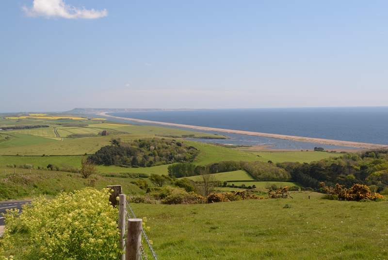 The Jurassic Coast road between Portland and Bridport is stunning in both directions, Chesil beach and the fleet lagoon are in view.