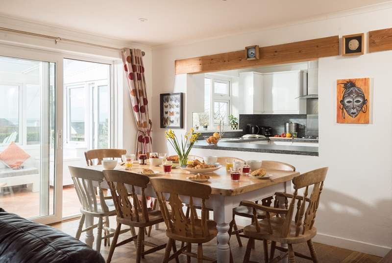 You can be cooking and still join in with the fun in the lovely open plan kitchen.