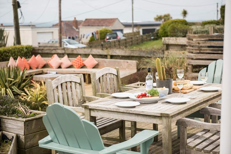 Enjoy a spot of lunch on the terrace, with views stretching out to the sea.