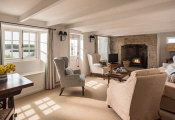 The cosy sitting-room with a stable-door to the terrace.